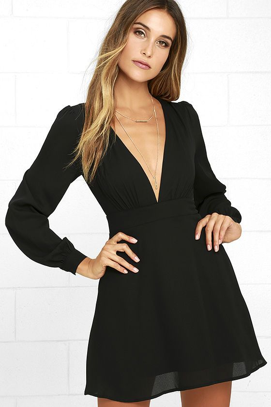197612af1b2d Happy songs are all you'll hear when you're wearing the Ecstatic Harmony  Black Long Sleeve Dress! Woven poly dress with plunging V-neckline, atop a  fitted ...