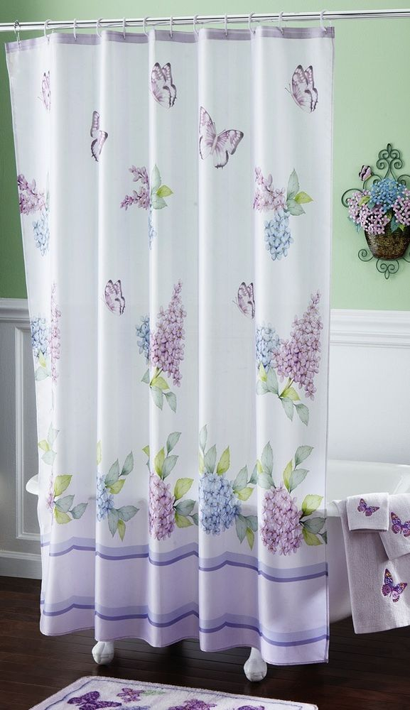 Lilac Purple Flowers Butterfly White Bathroom Bath Decor Fabric