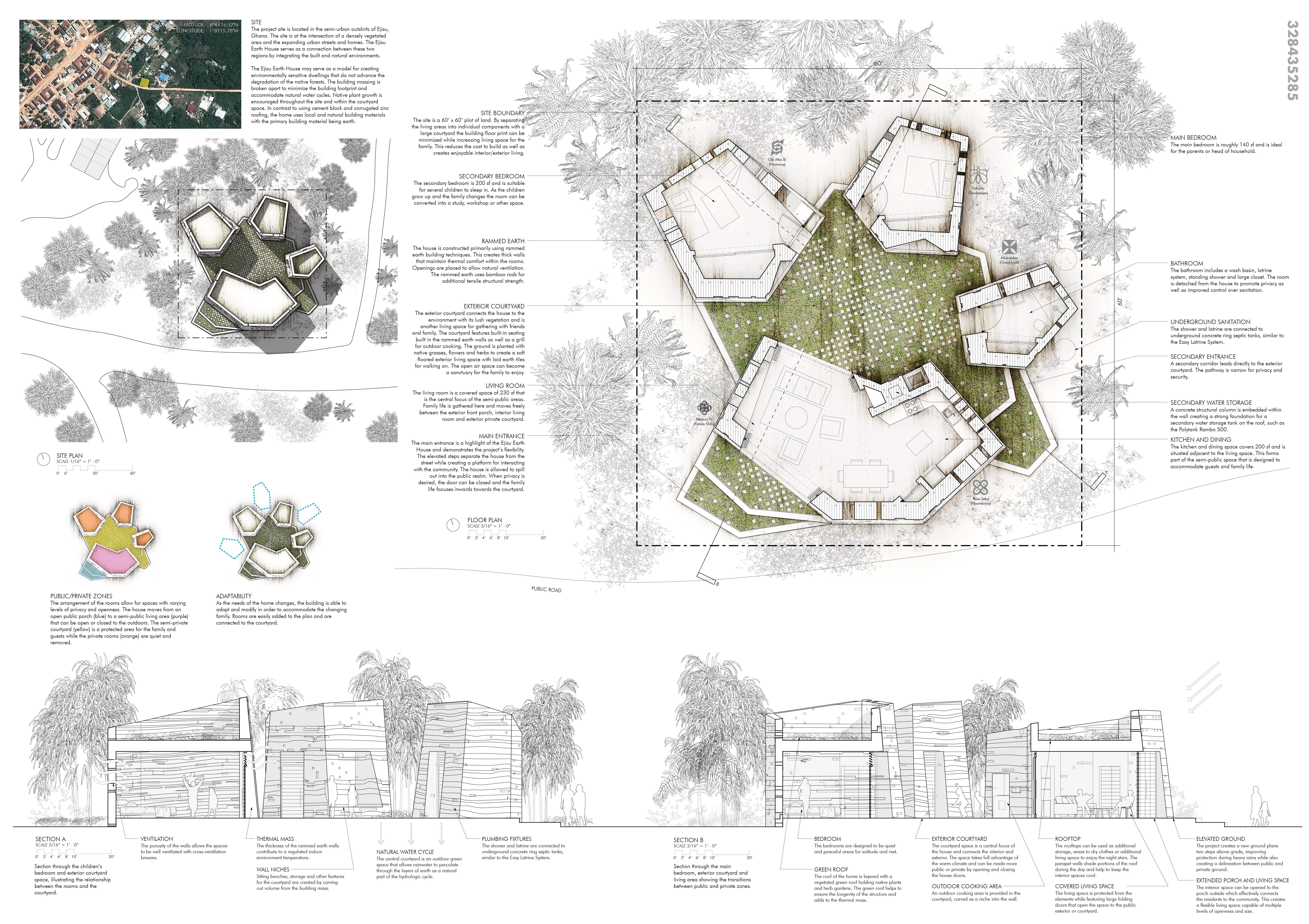 Ejisu Earth House Third Place Mud House Design Competition