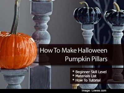How To Make Halloween Pumpkin Pillars Holiday fun Pinterest - lowes halloween