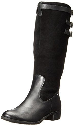 Hush Puppies Women's Leslie Chamber Riding Boot, Black Waterproof Leather/ Suede, 9.5 M