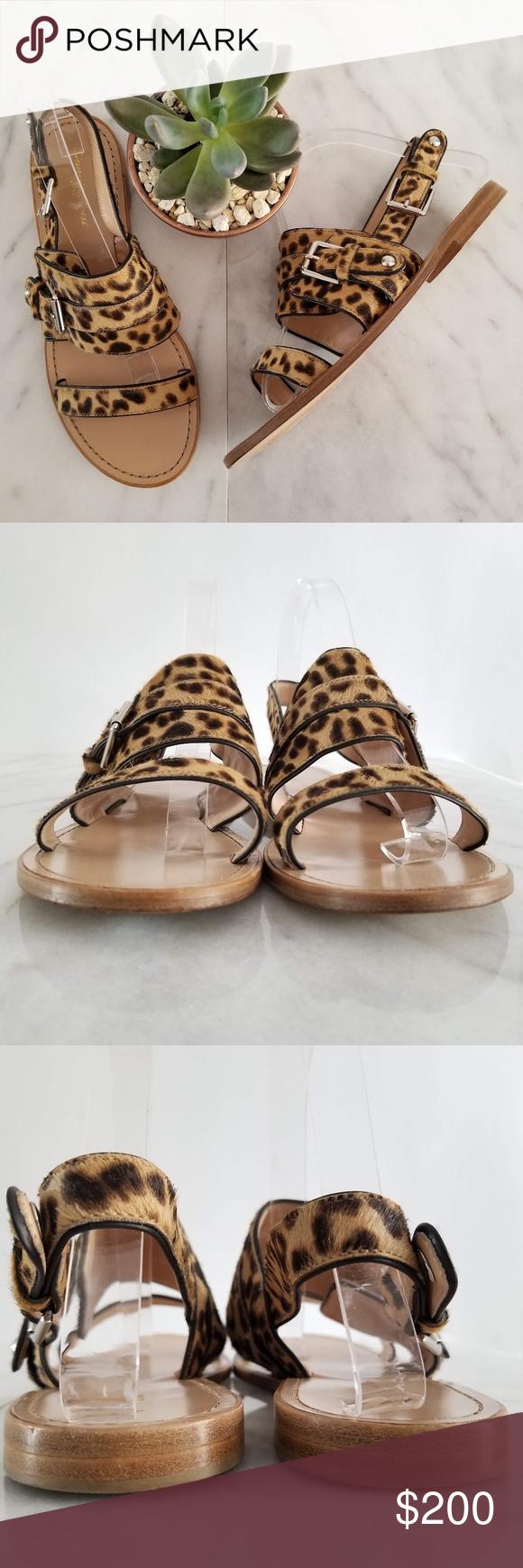 82a51bc7e22 Gianvito Rossi Leopard-Print Tan Flat Sandal 10 Gianvito Rossi sandal in  leopard-print