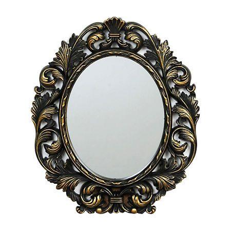Ornate Black & Gold Oval Framed Mirror, 13x15   Oval frame, Frame ...