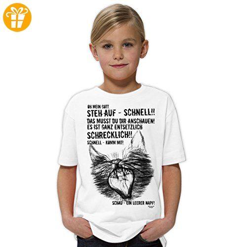 Ein leerer Napf - Katzen-Motiv Geschenk für Katzenliebhaber Geschenkidee für Kids :: Cooles Sprüche Kurzarm T-Shirt für Kinder Mädchen Girls Farbe: weiss Gr: 98/104 - Shirts mit spruch (*Partner-Link)