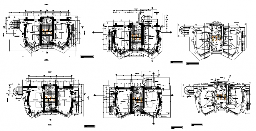 Ground, first and top floor layout plan of house with