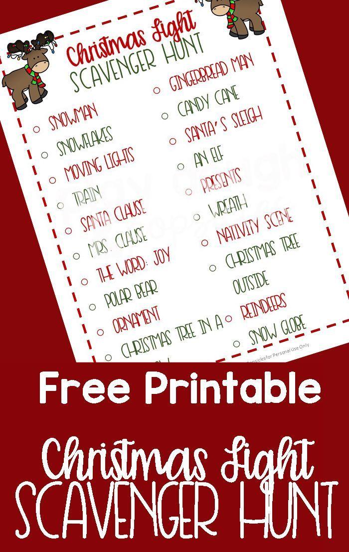 Free Printable Christmas Lights Scavenger Hunt Christmas lights
