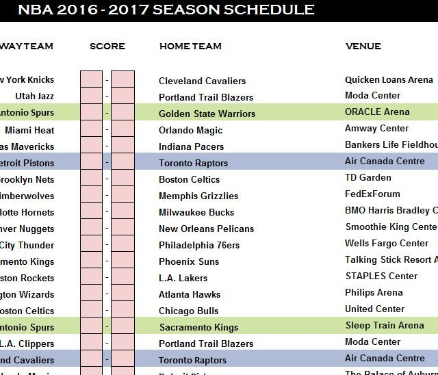NBA Schedule 2016-17 Template | Sports Templates | Pinterest | Nba ...
