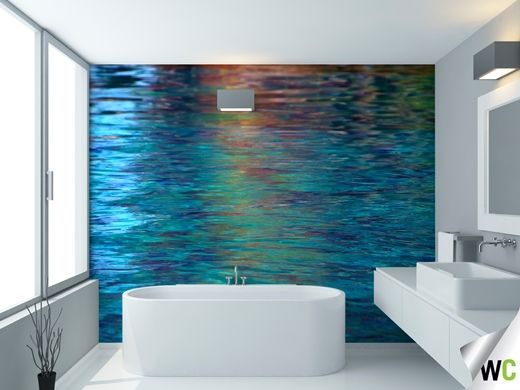 Water reflections wall mural ideal for the bathroom for Bathroom wall mural ideas