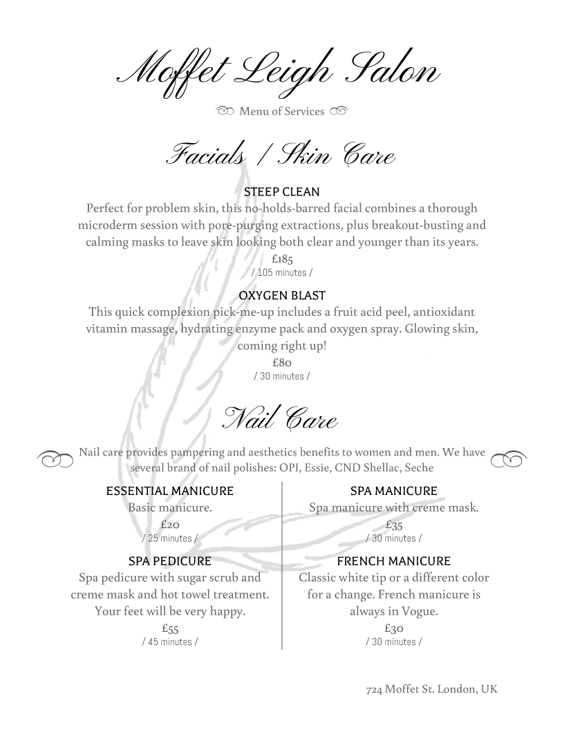 Superb Salon Menu Templates From IMenuPro