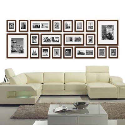 Large Multi Picture Photo Frames Wall Set 20 Pieces Set (Brown ...