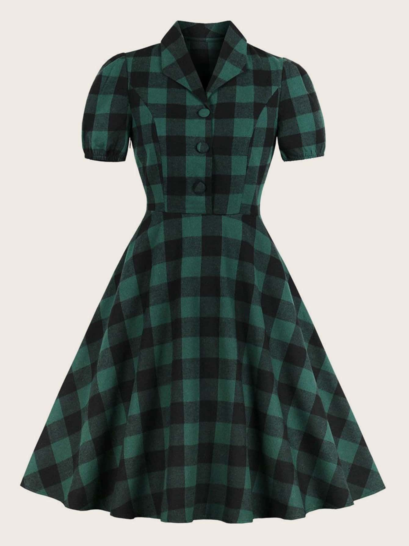 Plus Buffalo Plaid Fit And Fla In 2020 Plaid Dress Vintage Green Plaid Dress Vintage Shirt Dress [ 1785 x 1340 Pixel ]
