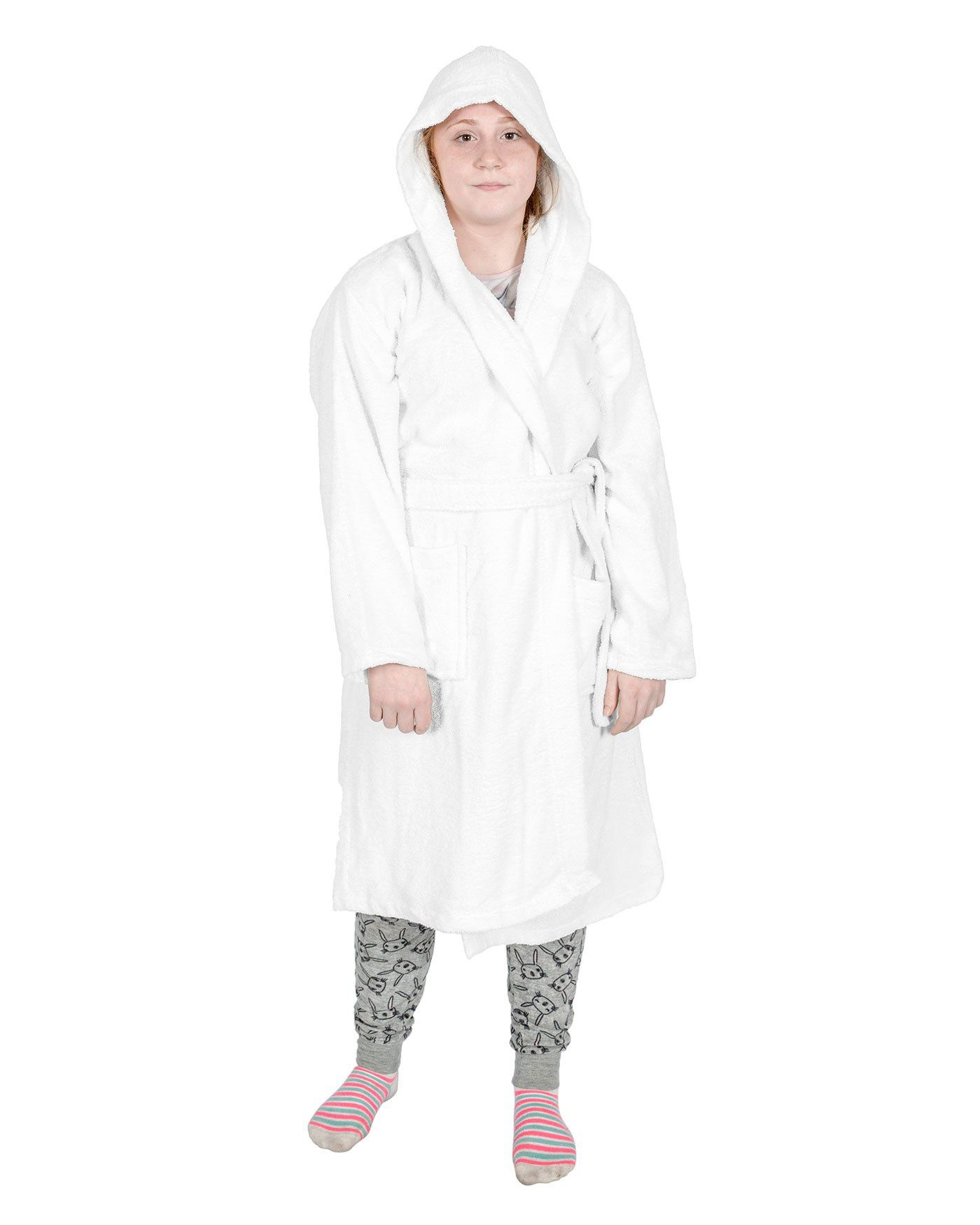 White 100% Combed Egyptian Cotton Hooded Kids Bathrobe, Large ...