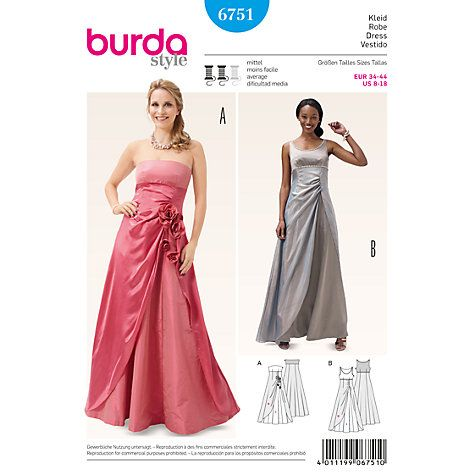 Buy Burda Women\'s Evening Dress Sewing Pattern, 6751 Online at ...