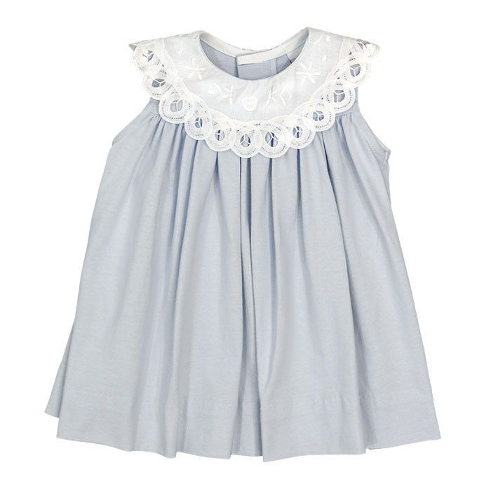 Blue Knit with Lace Collar Girls Float Dress