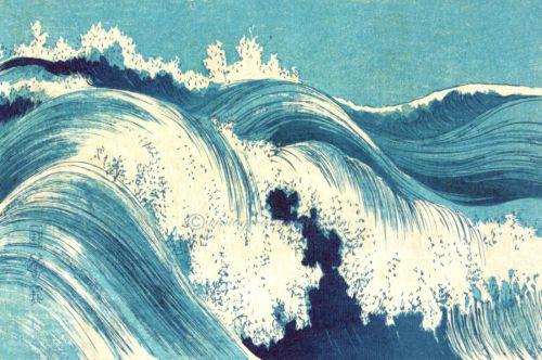 Vintage-Japanese-Art-Waves-Sea-On-Cotton-Canvas-Choice-Print-Canvas-Or-Framed