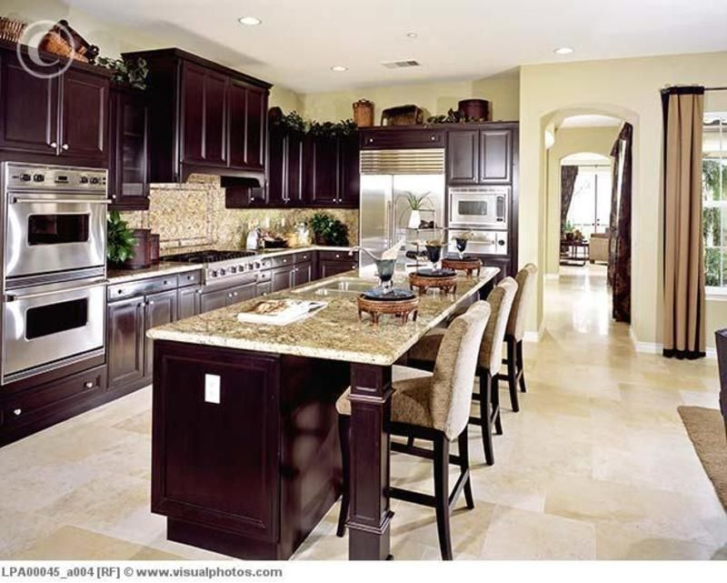 Kitchens With Dark Cabinets And Light Granite  Contemporary Brilliant Dark Wood Cabinets Kitchen Design Decorating Design