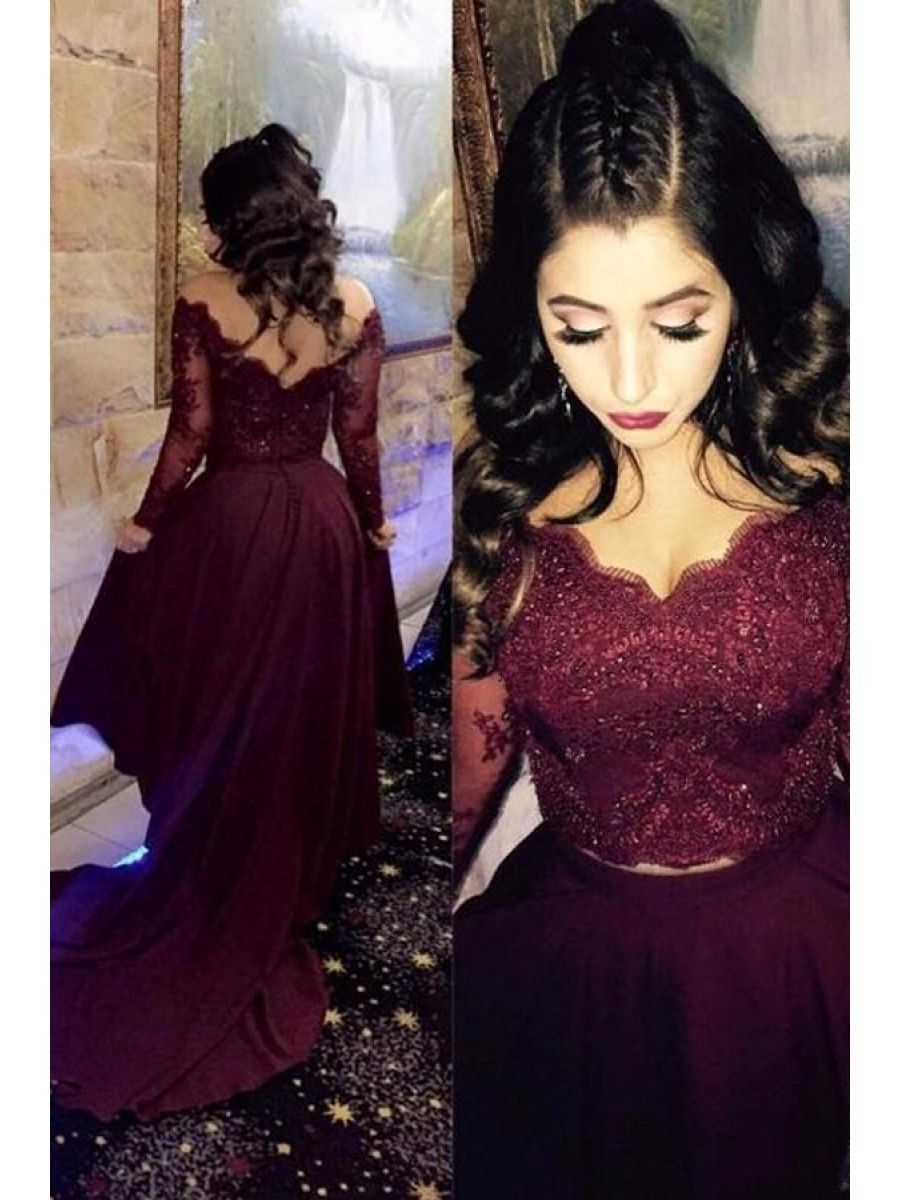 Assymetrical two pieces lace burgundy long evening party prom