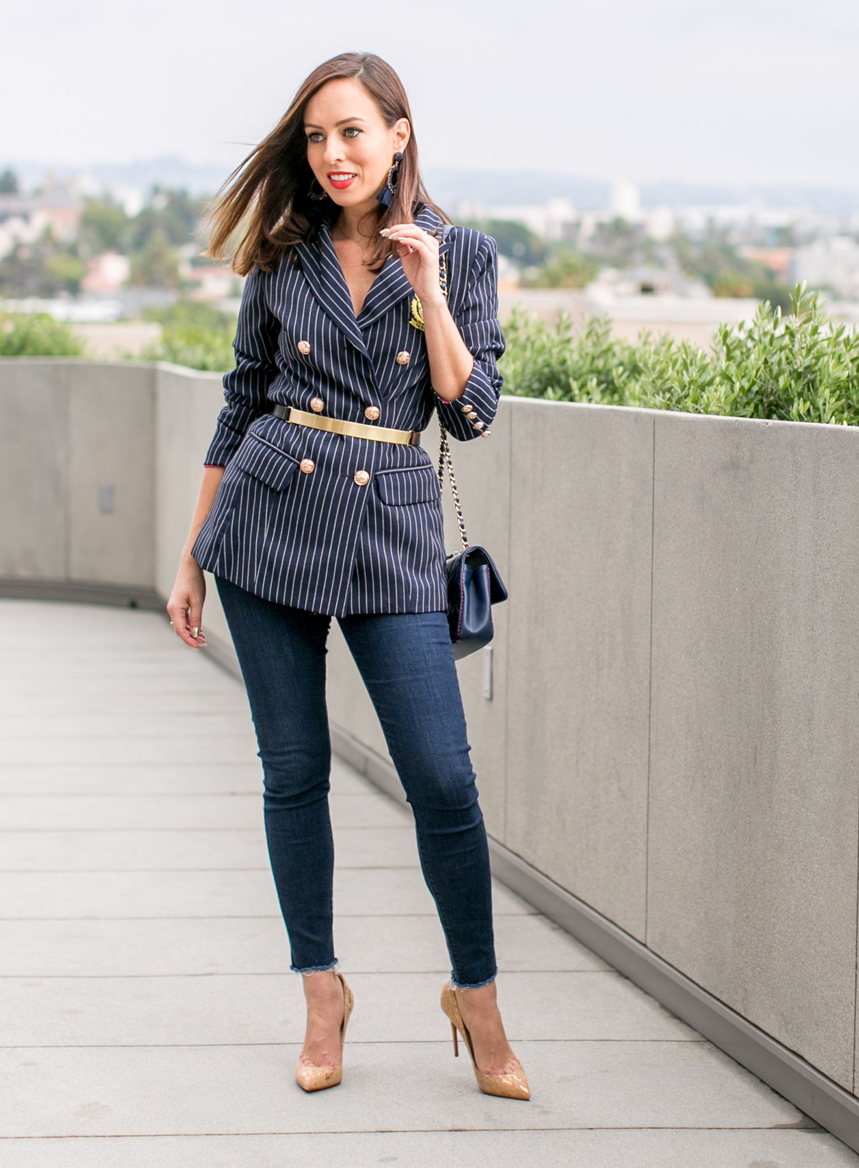 5e7f27b8fbc Sydne Style shows how to wear a blazer in pinstripes and gold belt with dark  skinny jeans  blazer  chanel  chanelbag  casualstyle  casualoutfit  jeans    ...