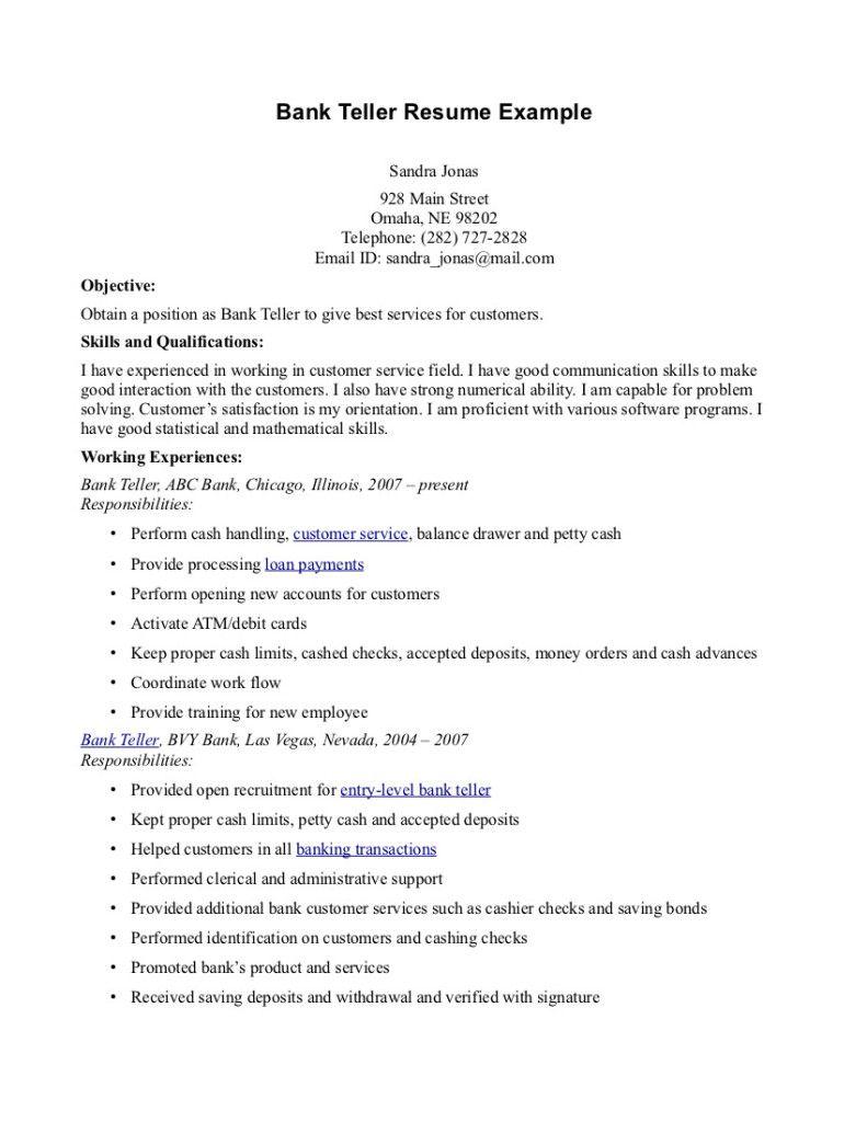 Resume Examples Bank Teller Examples Resume Resumeexamples Teller Bank Teller Resume Resume Objective Examples Resume Skills