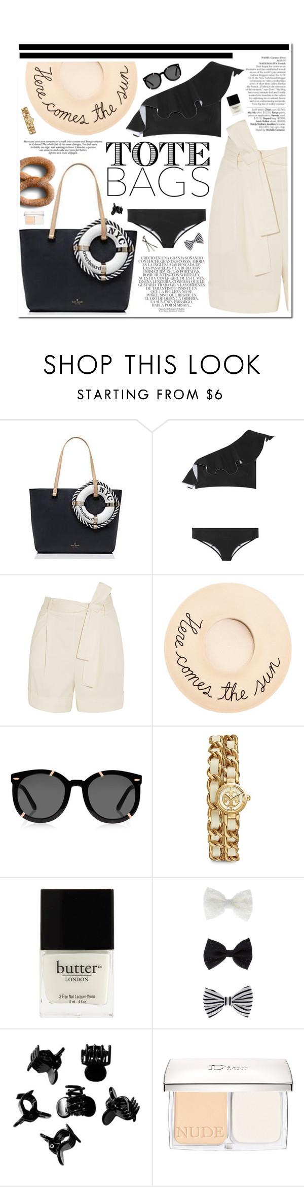 """""""Untitled #361"""" by piccolamarisa ❤ liked on Polyvore featuring Kate Spade, Avenue, Whiteley, Lisa Marie Fernandez, La Perla, Eugenia Kim, Karen Walker, Tory Burch, Butter London and Accessorize"""