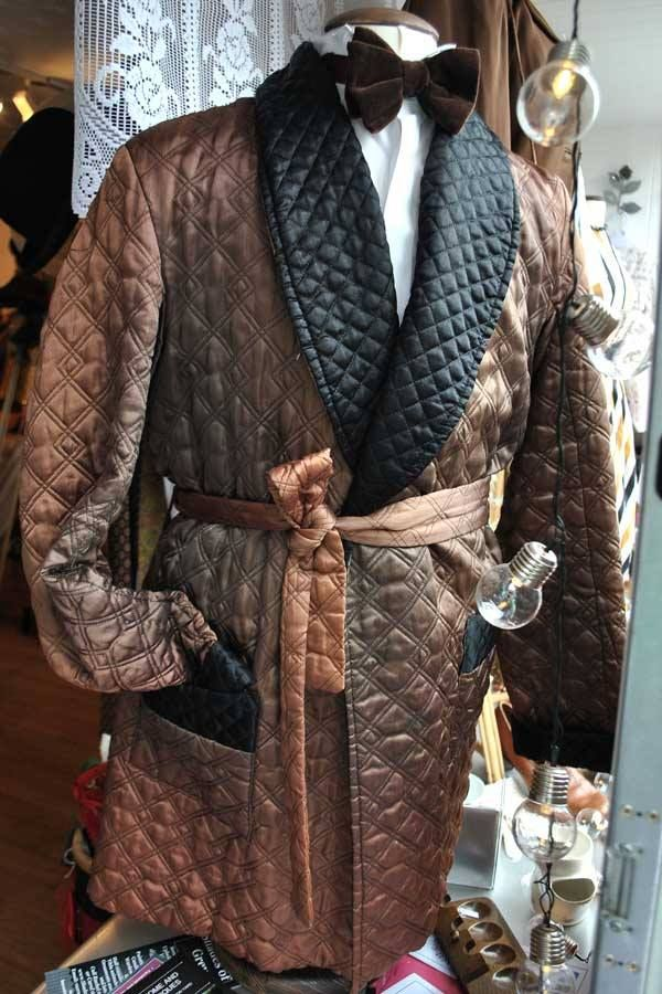 Quilted Coffee Ombre Smoking Jacket 1920s1930s Style Pinterest