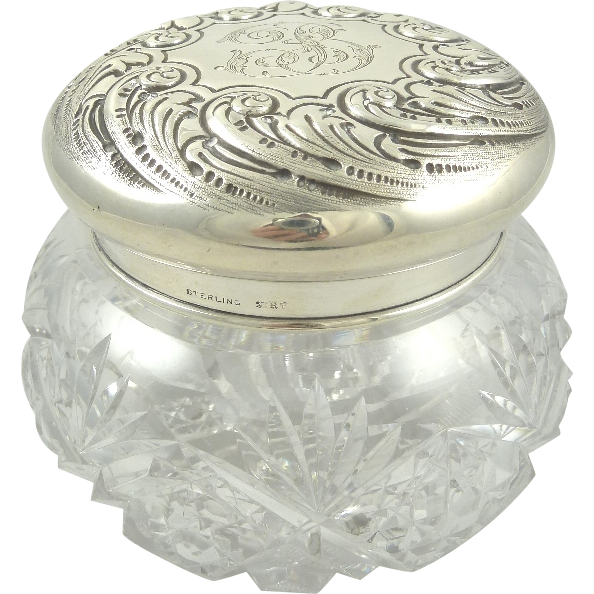 Antique Sterling Silver & Crystal Dresser Jar | Silver