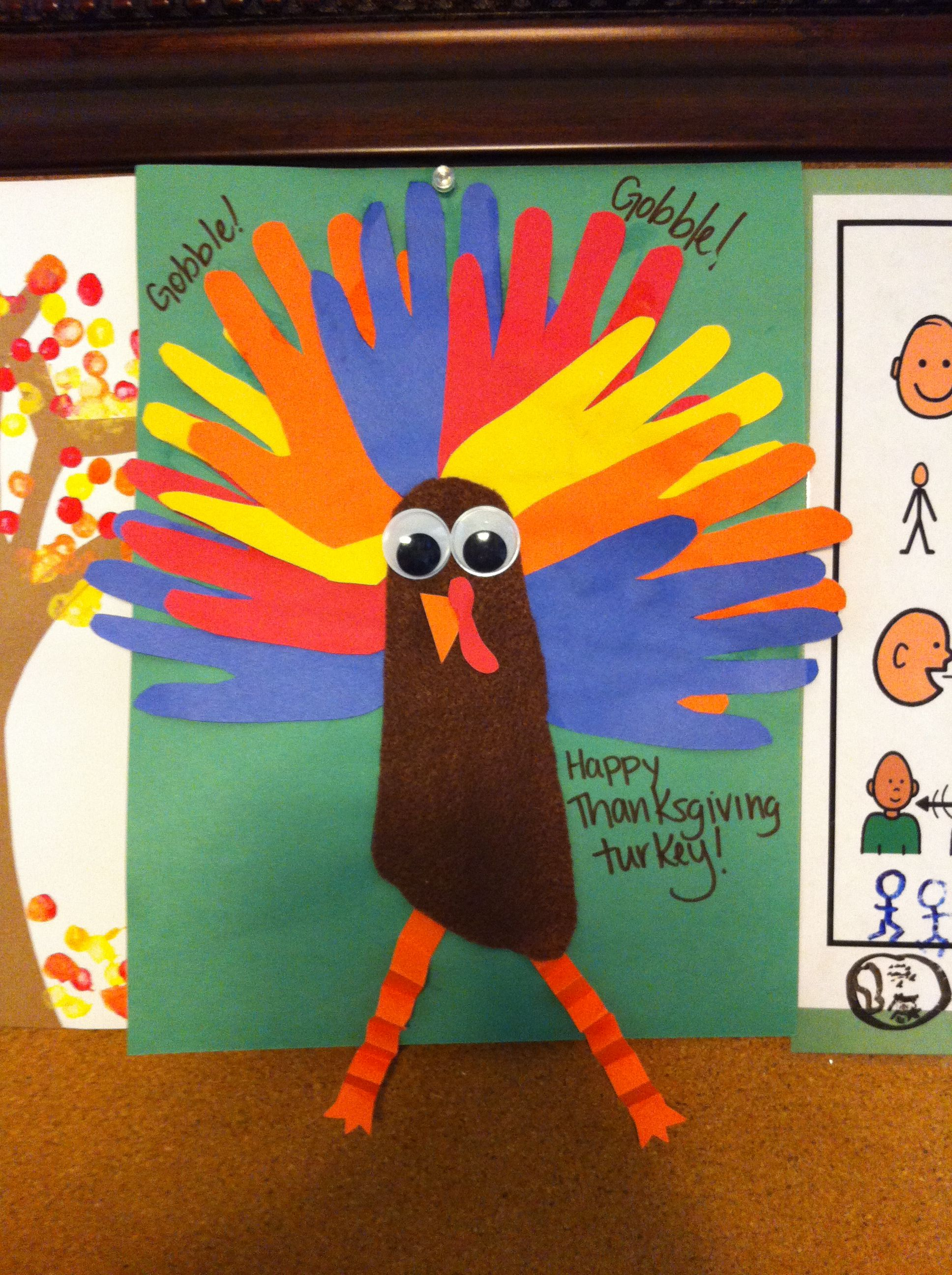 Thanksgiving Turkey Hand Outline Feathers And Body Made