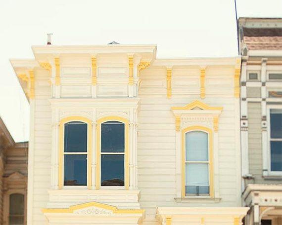 Yellow House Photograph, San Francisco, Architecture, Pastel, Yellow Wall Art, Windows, Design, House Photography, 8x10, 11x14, 16x20