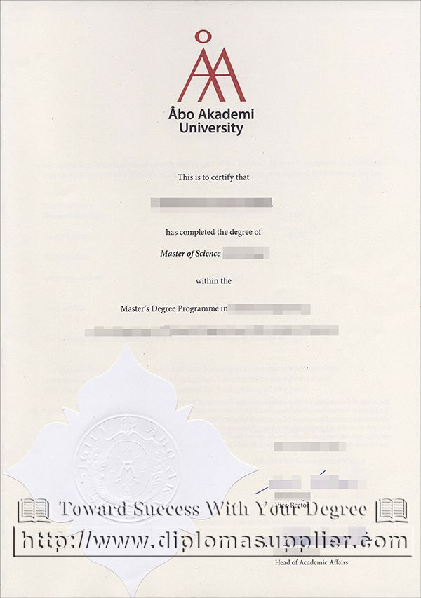 Åbo Akademi University degree, Åbo Akademi University diploma, AAU - sample graduation certificate
