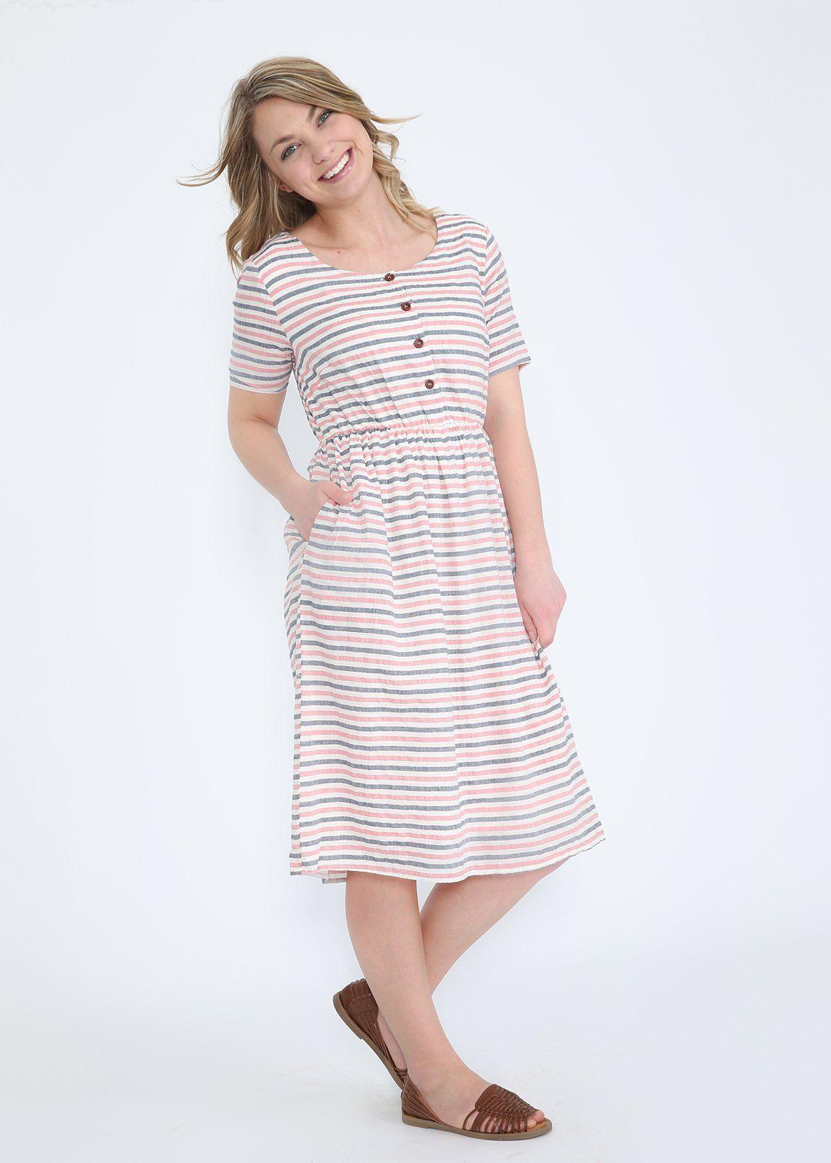 Rojo Striped Midi Dress Final Sale Striped Midi Dress Modest Dresses Dresses [ 1680 x 1200 Pixel ]