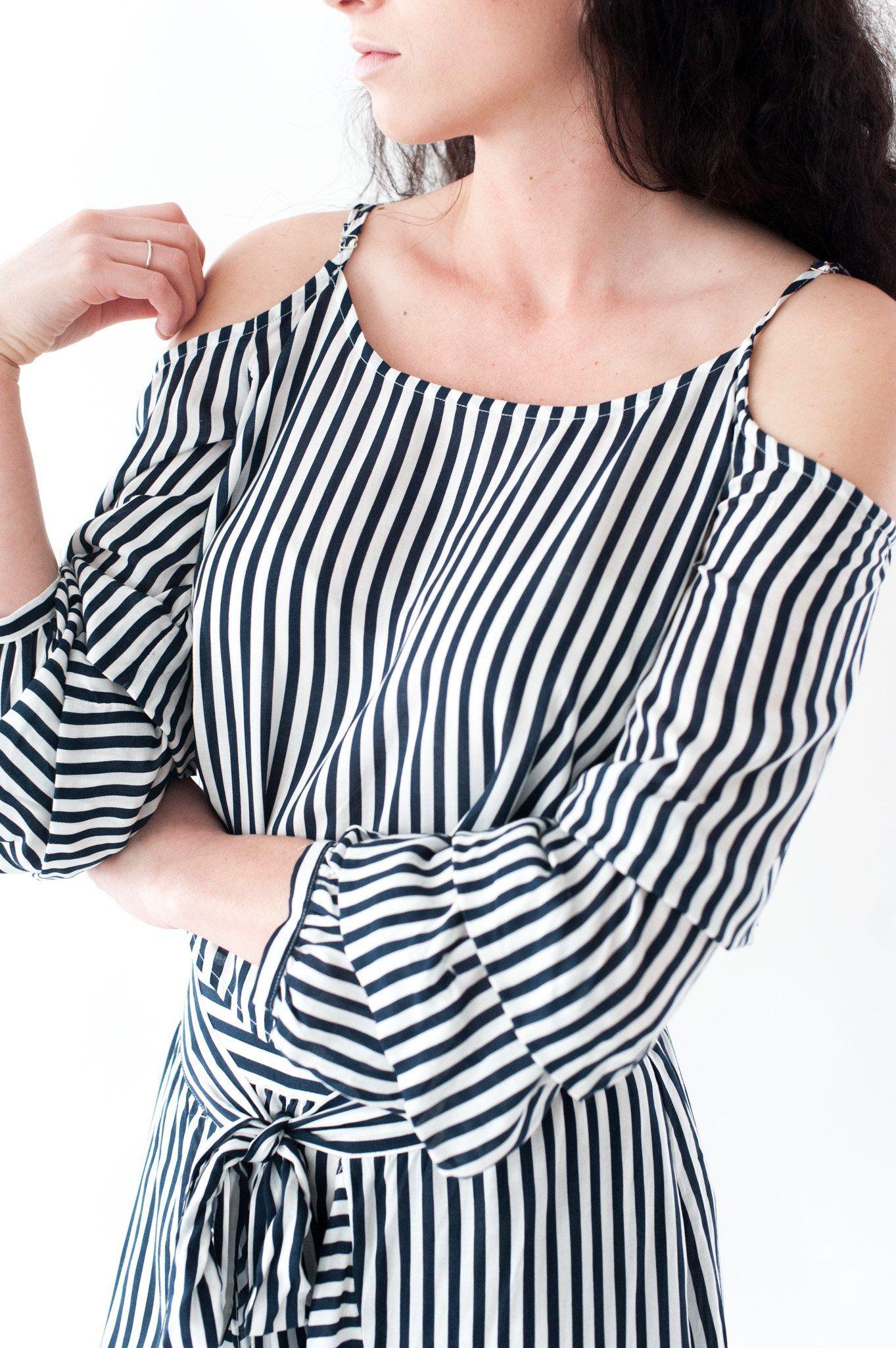 Miss me stripe open shoulder tiered sleeve top tops