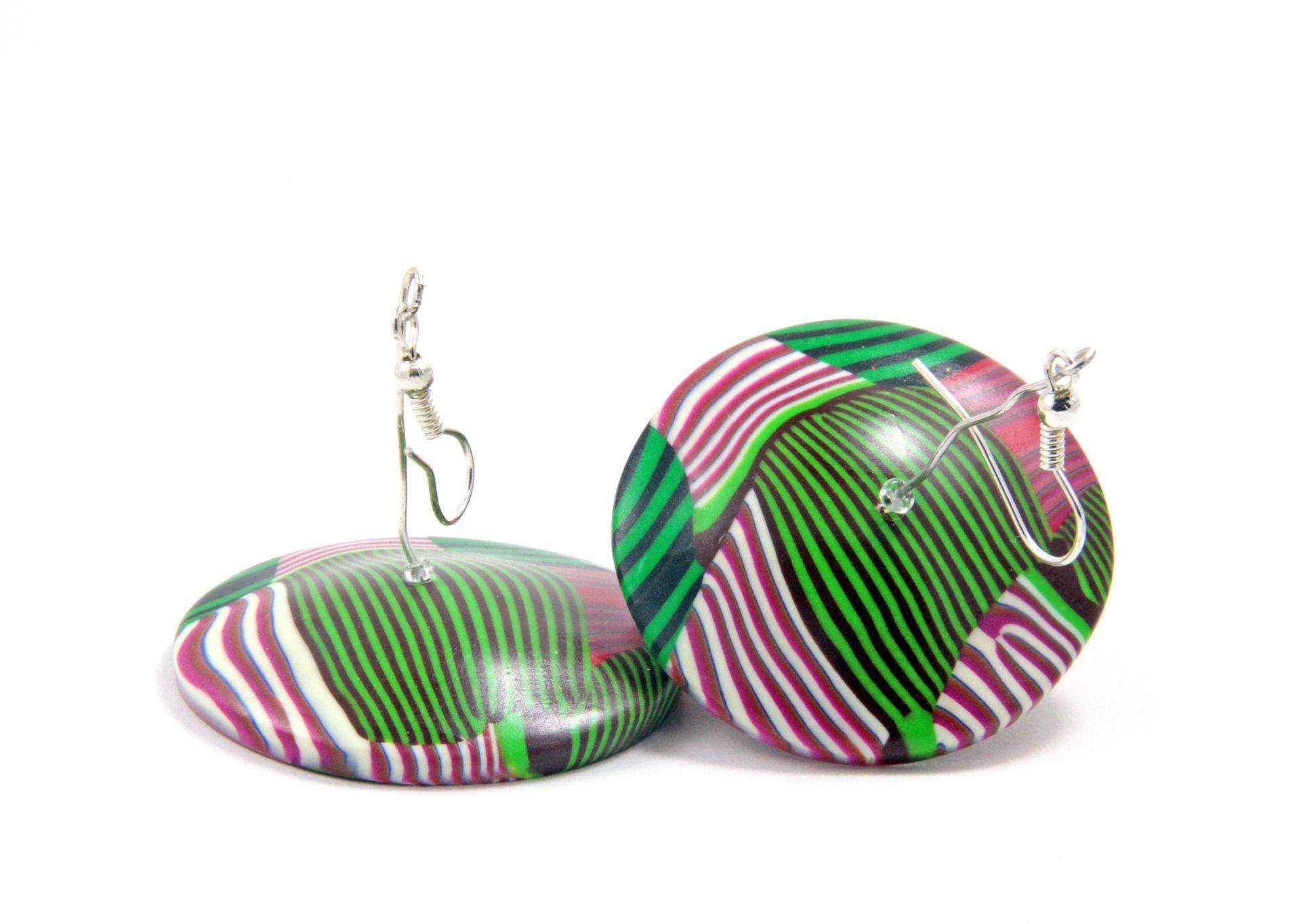 """Grandes Boucles d'oreilles rayures - collection """"Soucoupe volante"""" : Boucles d'oreille par doremifasolafimo"""