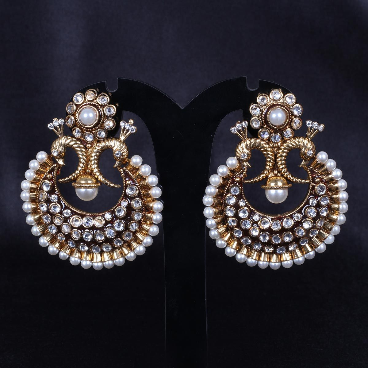 8526216785f4 Chand Bali Peacock design with kundan stones and Pearls - WJ0206 Bridal  Jewellery Earrings
