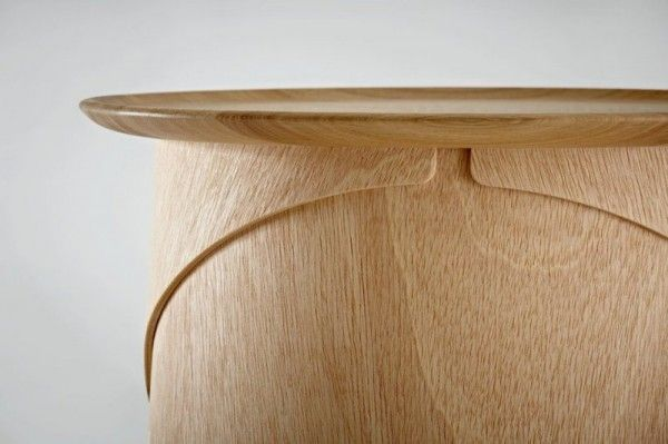 Simple Wooden Coffee Table With Legs Made Of Bent Plywood Wrap Tables Home Building Furniture A In 2020 Wooden Coffee Table Unique Table Design Coffee Table Legs