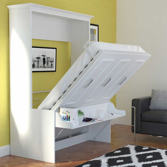 Bed Amp Room Porter Queen Portrait Wall Bed With Desk And Two Side Towers In White Murphy Bed Desk Bed Desk Wall Bed