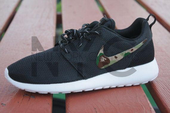 728e34945ecb Bape Camo Nike Roshe Run Black Custom
