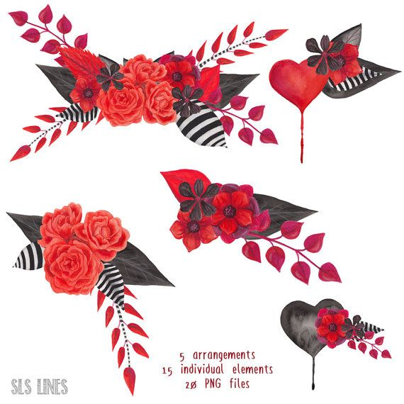 gothic watercolor floral clipart black and red flowers par SLSLines