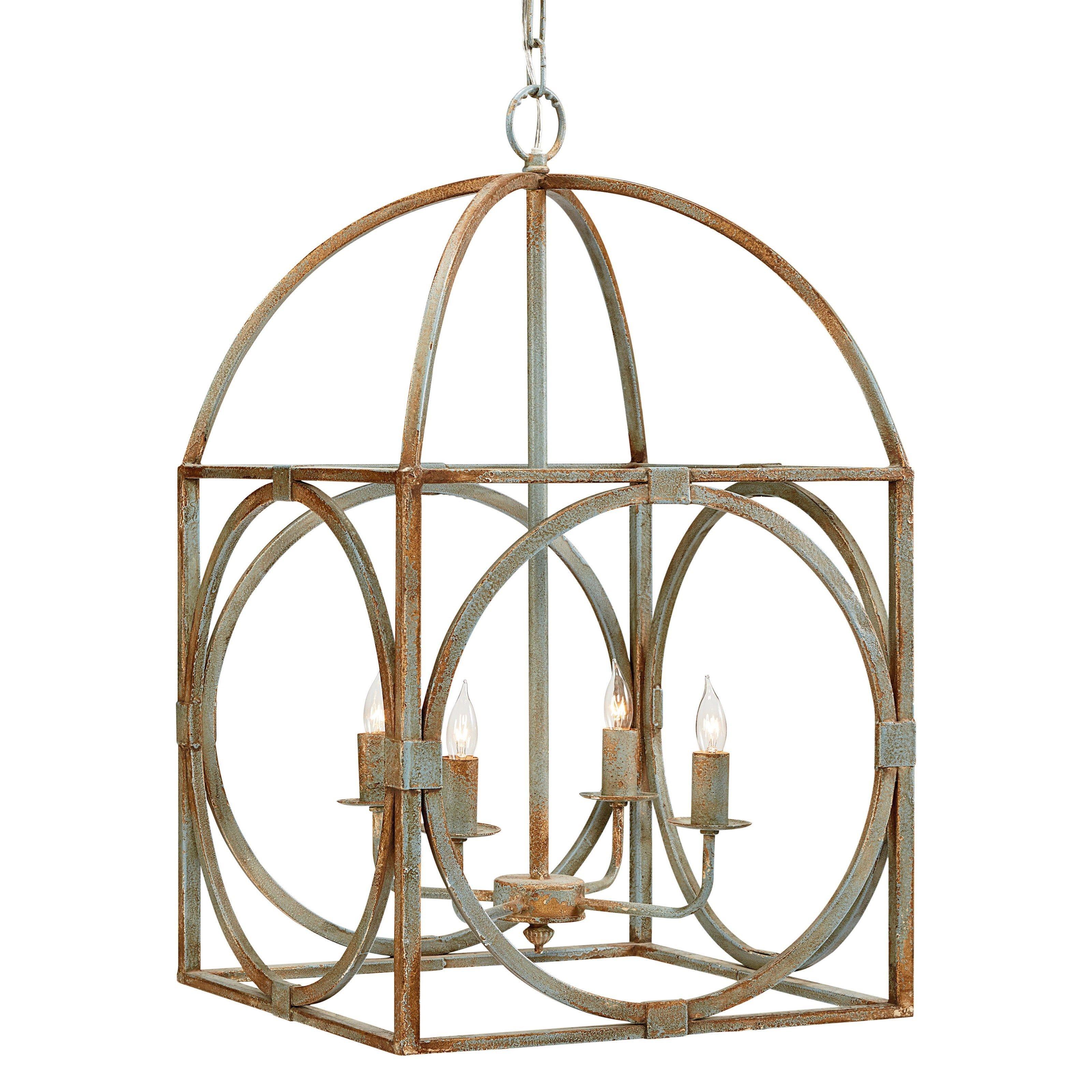 Rust Colored Metal Birdcage Chandelier NH DECOR