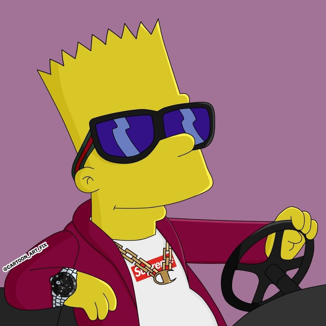 hypebeast cartoon art on instagram comment down below what you think bart is driving hypebeast supreme streetwear in 2020 bart simpson bart cartoon art bart simpson bart cartoon art