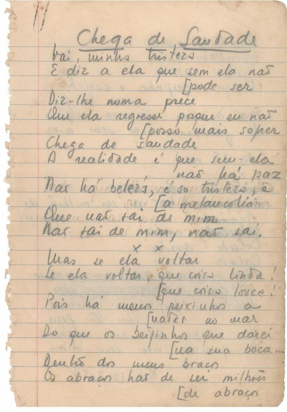 Manuscrito Da Criacao De Chega De Saudade Cancao Saudade