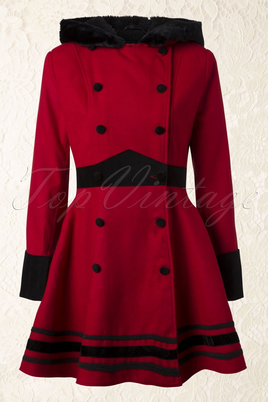 Bunny Vintage Mikaela Hooded Winter Swing Coat in Red