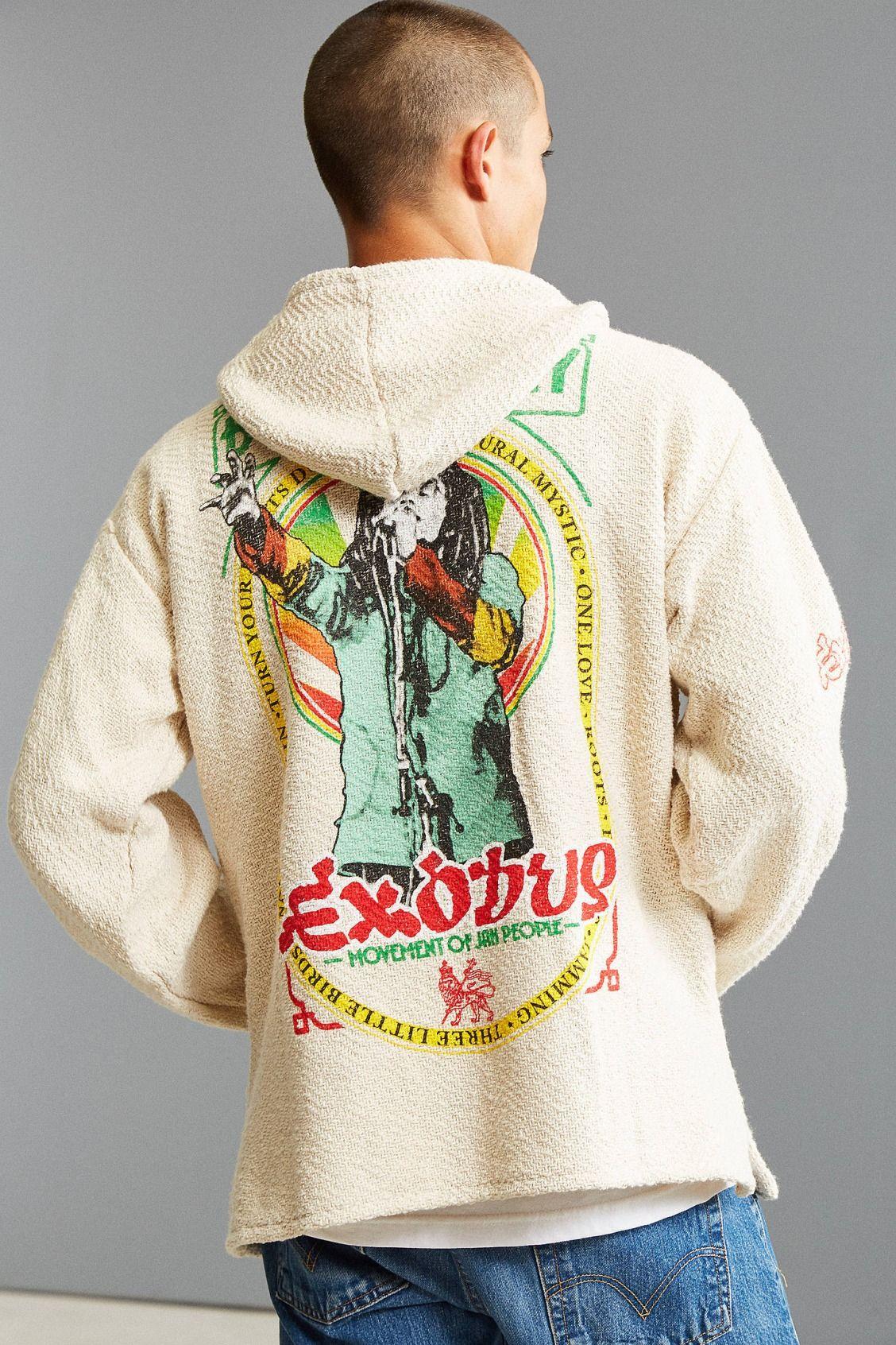 4a119b500ccd21 Bob Marley Exodus 40 Woven Hoodie Sweatshirt