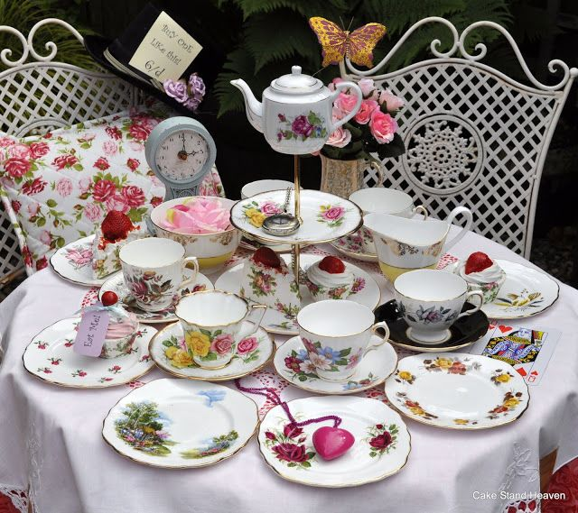 Now if I can find these cheap: A Vintage Mismatched China Tea Set and Quirky Cake Stand