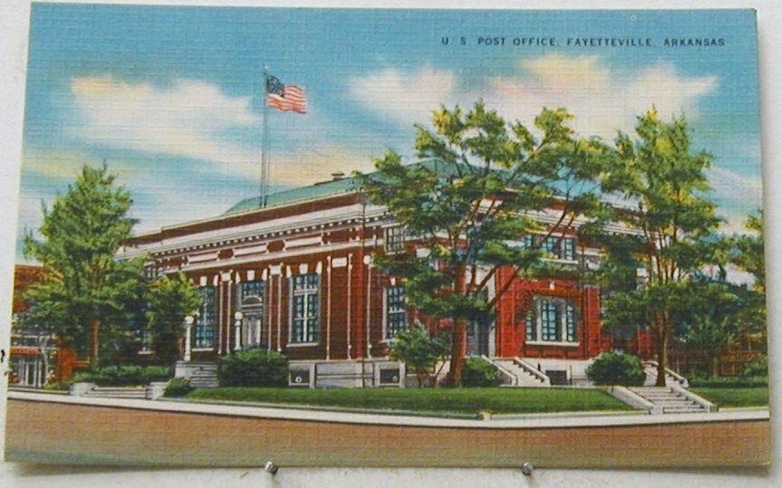 A1687 Fayetteville Ar Linen Postcard Post Office Postcard Twin Lake Fayetteville