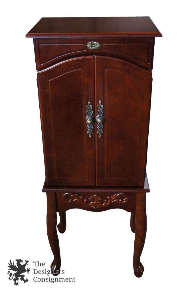 Stunning Mahogany Jewelry Armoire Cabinet 5 Drawer Chest With Mirror