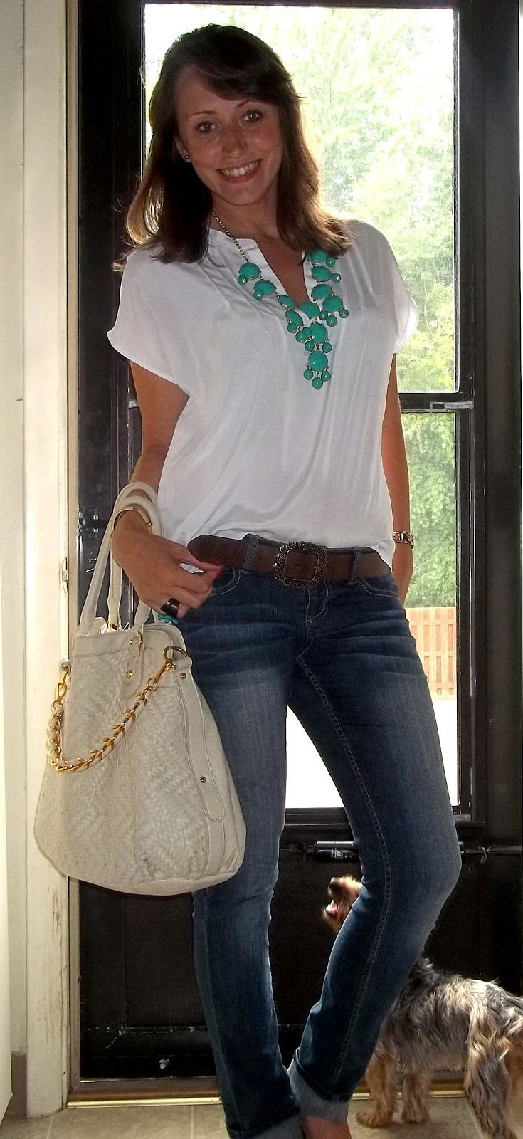 Jeans, white top, bubble necklace, leopard flats