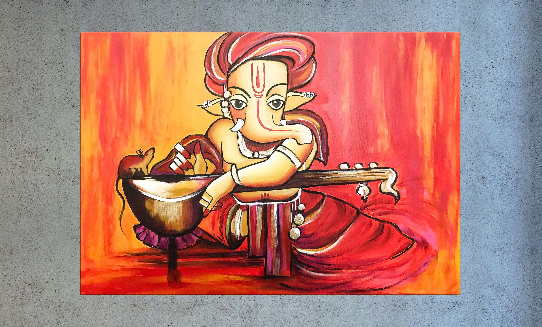 Ganesha Canvas Art Modern Indian Art Asian Decor Painting Etsy Modern Indian Art Indian Painting Painting