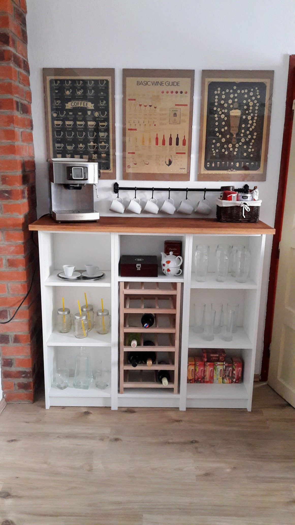 Diy Ikea Billy Coffee Wine Bar Ikea Diy Ikea Bar Kaffeebar Diy