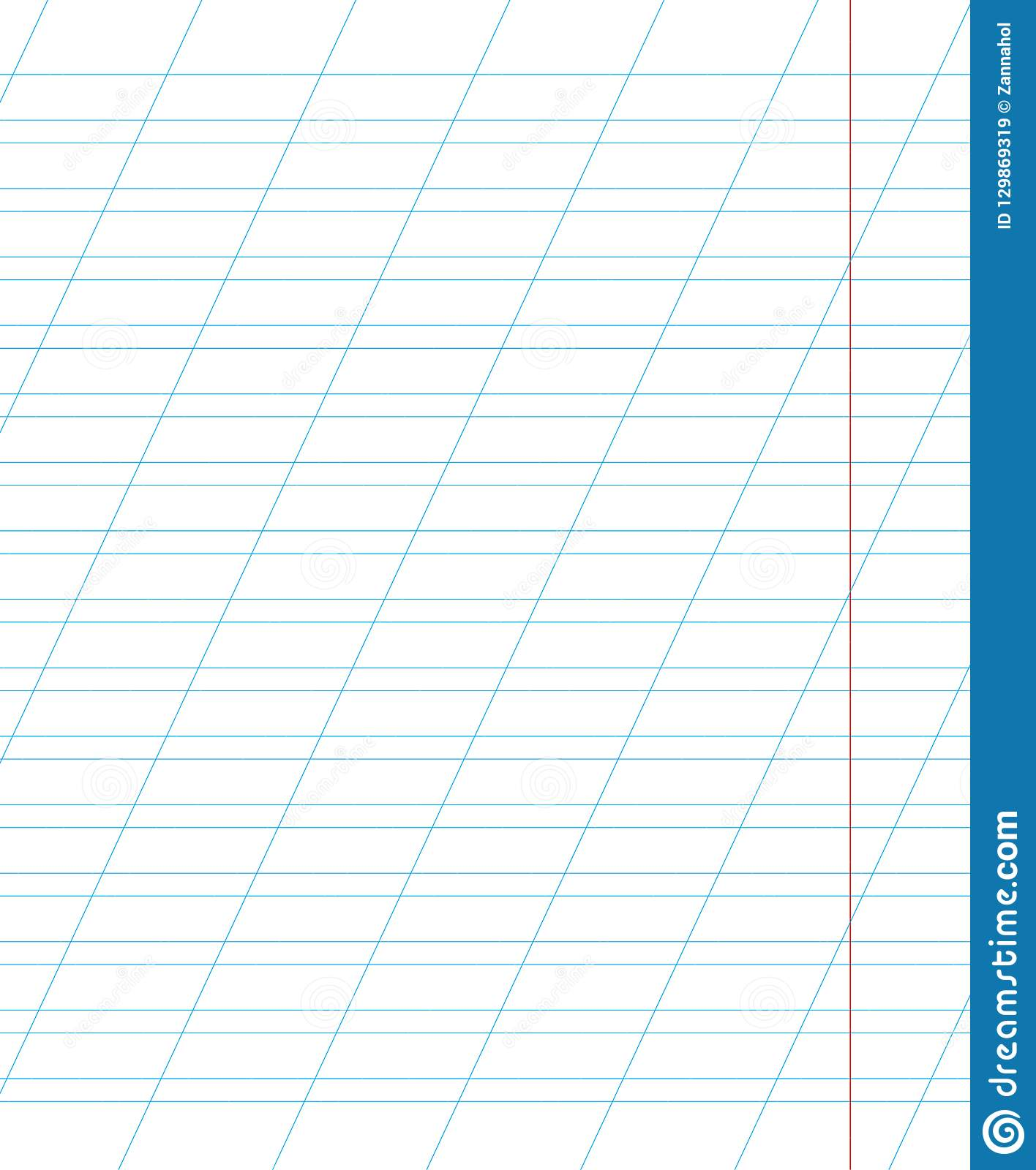 A Sheet Of School Notebook In A Ruler With A Slanting Line