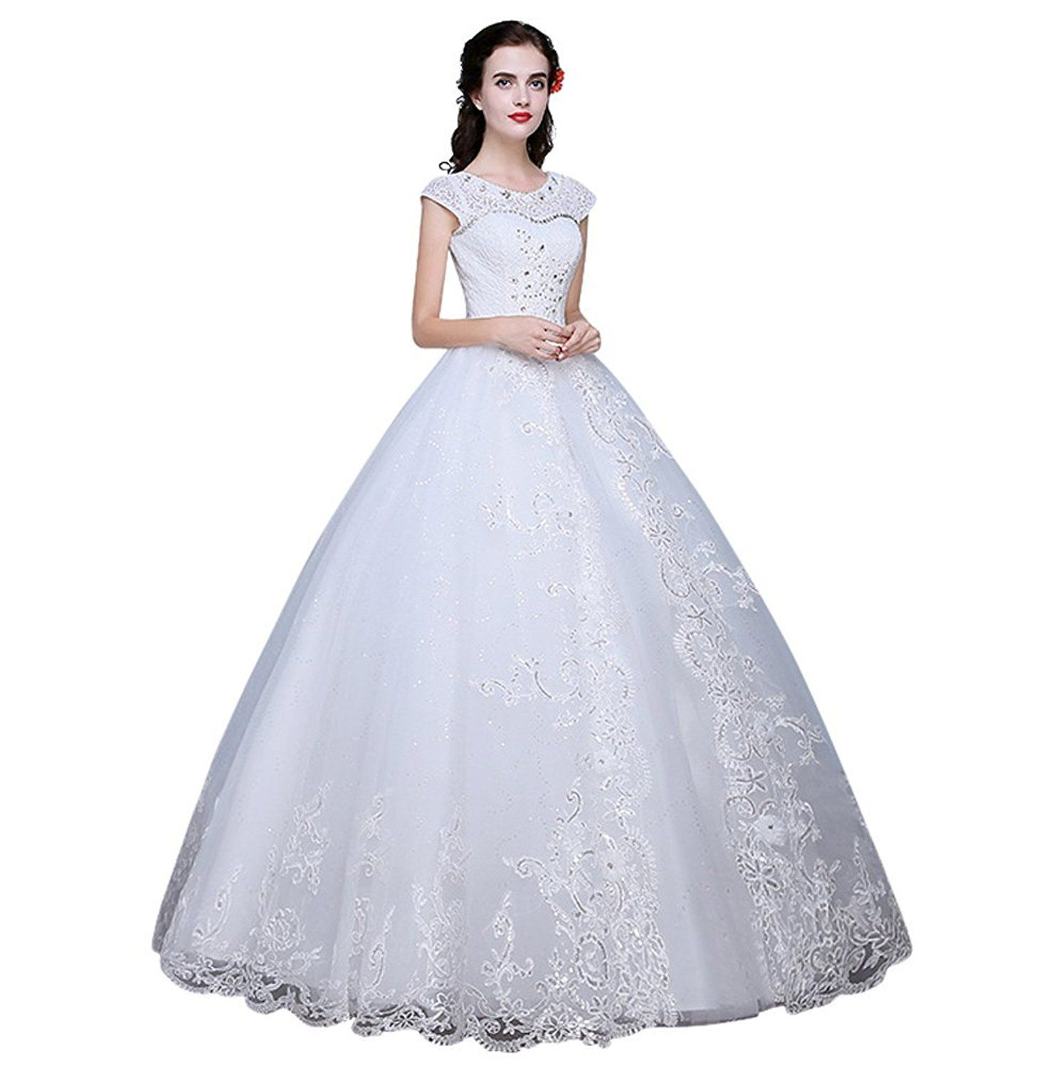 Wedding dresses with rhinestones  Drasawee Top Tulle Pearls Rhinestones Embellished Wedding Dress